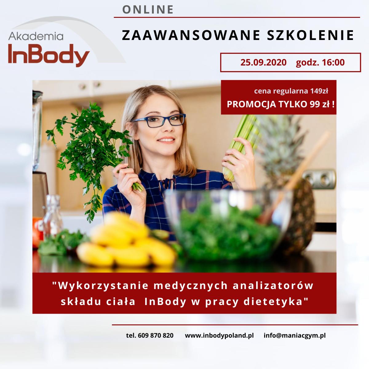 """Szkolenie online """"Wykorzystanie medycznych analizatorów składu ciała InBody w pracy dietetyka"""""""