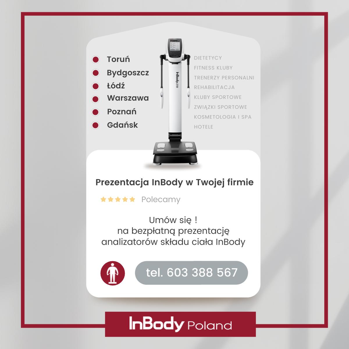Umów się na bezpłatną prezentację analizatora składu ciała InBody w Twojej firmie.